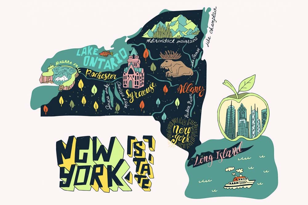 a cartoon New York map with key cities and landmarks like Lake Ontario