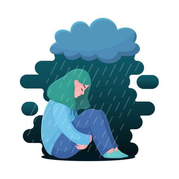 Illustration of girl under rainy cloud, sad, in pain