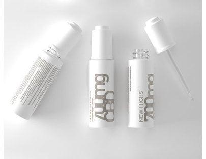 white bottles of New Highs CBD Tincture