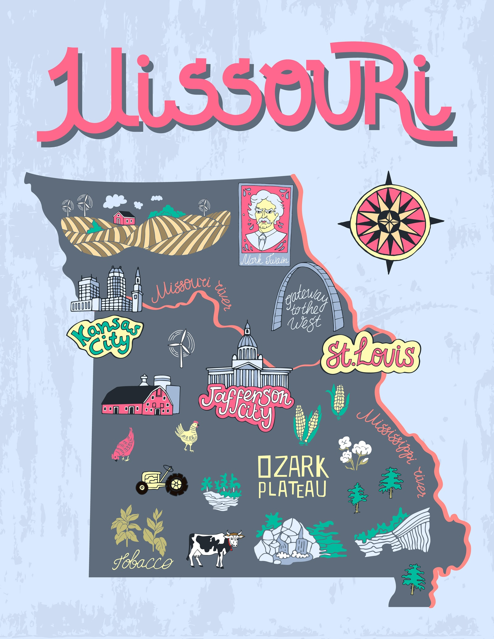 a cartoon map of Missouri depicting state symbols and cities