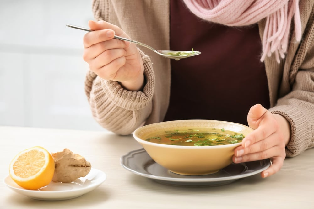 drinking chicken soup for common cold