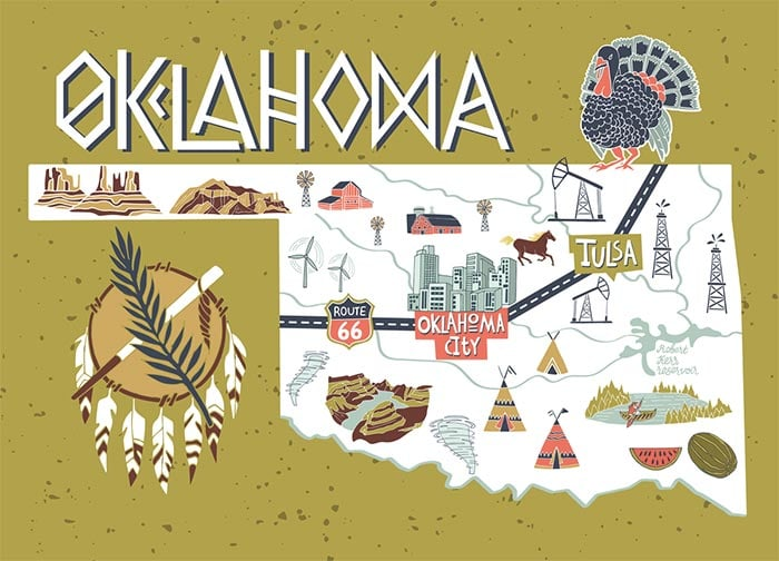 a cartoon map of Oklahoma with key cities and landmarks