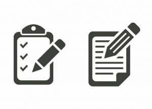 a checklist graphic next to a graphic of a pencil writing on paper